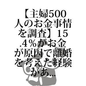 【主婦500人のお金事情を調査】15.4%がお金が原因で離婚を考えた経験がある、38.4%が秘密のへそくりあり