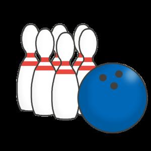 ボーリングのピンとボールのイラスト
