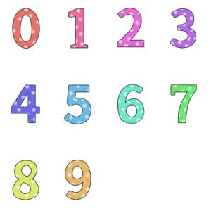 数字の文字イラスト(カラフル・水玉)