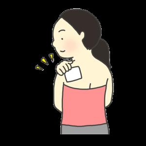 湿布を貼っている女性のイラスト