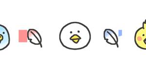 鳥の飾りラインのイラスト素材