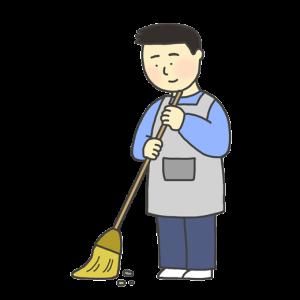 掃き掃除をする男性のイラスト