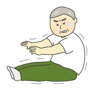 身体が固いおじいさんのイラスト