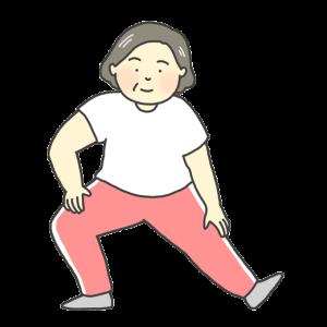 伸脚運動のイラスト(中年女性)