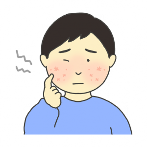 乾燥肌のイラスト(男性)