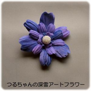 新作「フラットローズのコサージュ(青紫)」