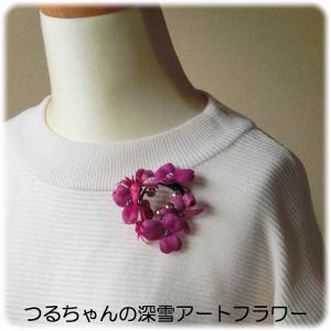 新作「すみれと小花のブローチ(赤紫)」
