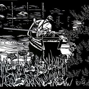 切り絵「舟と菖蒲」