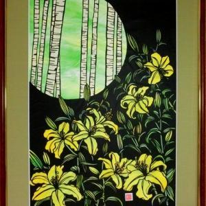 切り絵「涼風」と軽井沢の白糸の滝