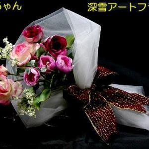 ピンク色のバラのブーケ「ピンクフェアリー」と苔