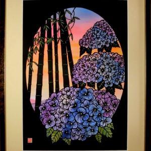 切り絵「夕映えの紫陽花」