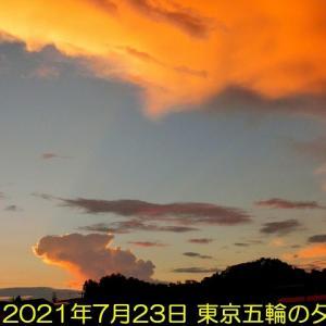 東京五輪開幕の夕焼けと初めて見た飛行機