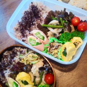 霜降りヒラタケと鶏肉のニンニク炒め弁当