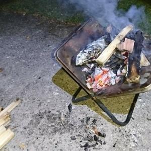 焚き火で焼き芋🍠