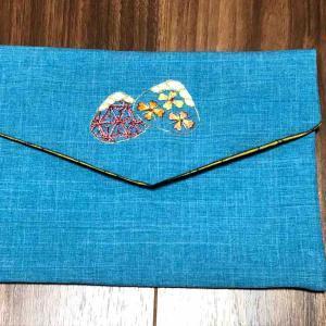日本刺しゅうご朱印帳袋作ったよー