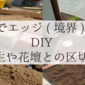 レンガでエッジ(境界)を作る!DIY!(芝生や花壇との区切り)