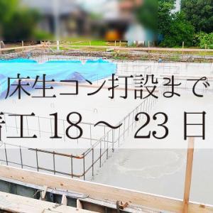 基礎工事(床ベースの生コン打設)着工18~23日目まで