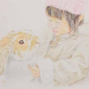うさぎさんを描きました。デッサンとツーショット。