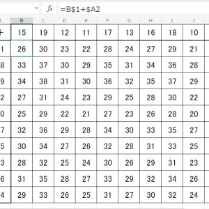 百ます計算表をエクセルで作成する方法 複合参照であっという間!超簡単!
