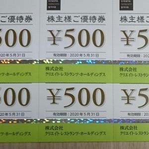【優待】クリエイト・レストランツから3000円券来ましたー