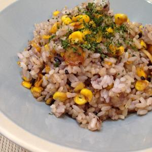 醤油が香ばしい焼きとうもろこし×雑穀米のバターガーリックチャーハンの簡単レシピ♡