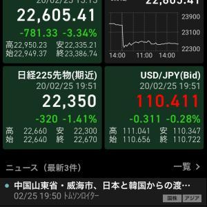日経225大幅に下げる!世界同時株安へ向かうのか