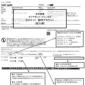 ダイヤモンドプリンセス   Eチケット(乗船券)