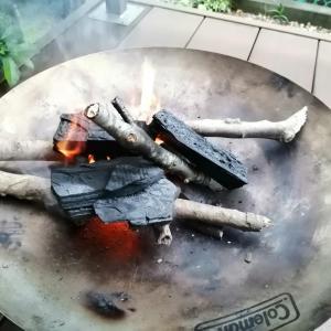暇だったから炭火でカレー作り!