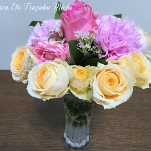 薔薇の花を足して作った花束