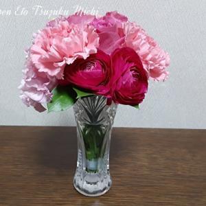 次はピンクの花束です