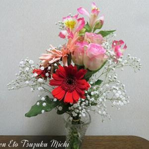 薔薇とガーベラとアルストロメリア・オーレアとかすみ草の花束