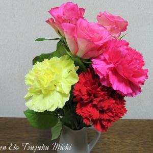 ピンクの薔薇とカーネーションの花束