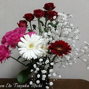 薔薇とガーベラとかすみ草の花束