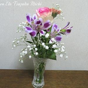 薔薇とアルストロメリア・オーレアとかすみ草とガーベラの花束