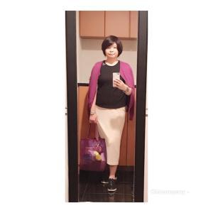 アラ還 ぽっちゃり 骨格ストレート コーデ「ユニクロ・コーデュロイロングナロースカートとサツマイモ色」