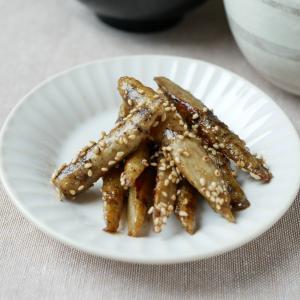 ごぼうの甘辛焼き♪ 皮はアルミホイルで、味付けはすきやきのたれで簡単に!