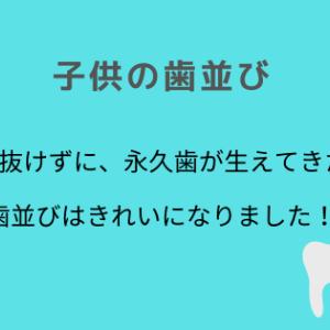 乳歯の後ろに生えた永久歯は、キレイに並びました!生え変わりの時期に気を付けたいこと。
