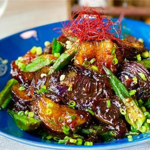 【レシピ】茄子とオクラの甘辛おかか炒め