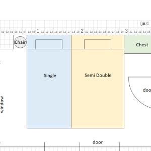 6畳部屋にシングルベッドとセミダブルベッドを置くとこうなります(圧迫感?)