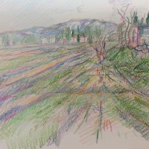 スケッチ 山形風景 2020.5.31 色鉛筆 画用紙