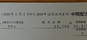 JTからの配当金。