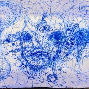 ボールペン  河川敷の公園で描きました('◇')ゞ