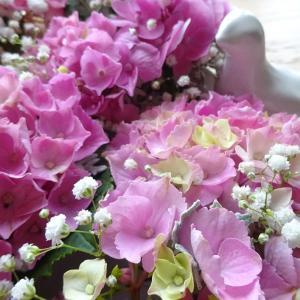 小鳥ちゃんとピンクの紫陽花♡