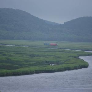 花咲線の絶景区間を行く2両編成列車