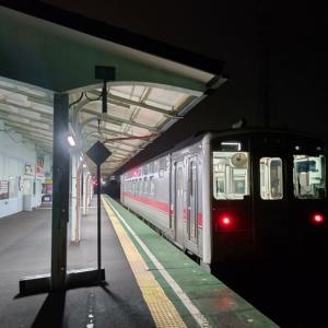 ガスかかる朝の釧路ゆき始発列車