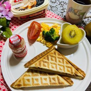 今日の朝食 キウイのホットサンド