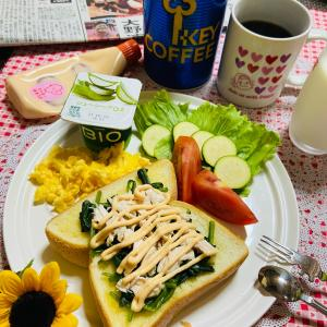 今日の朝食 オープンサンド