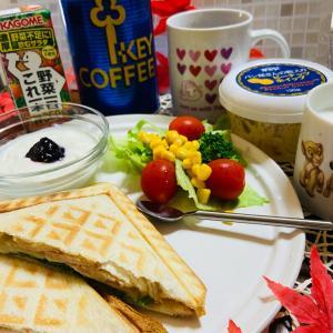 今日の朝食 スモークチキンのホットサンド