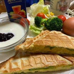今日の朝食 明太ポテトのホットサンド