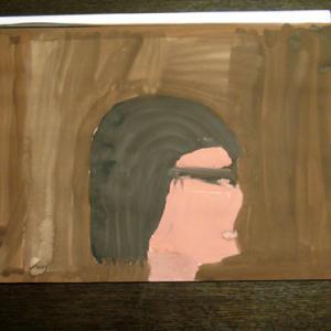 水彩画 ママの横顔